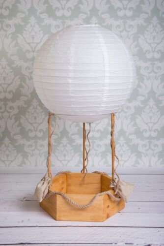Hot air balloon real photography props, newborn baby wood basket, colors