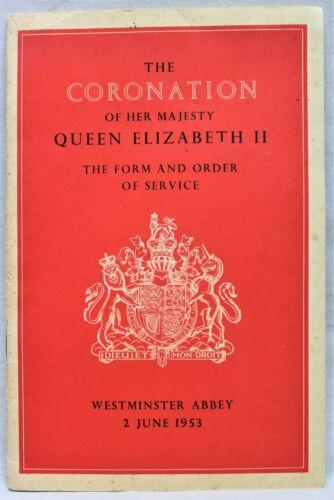 CORONATION OF QUEEN ELIZABETH FORM & ORDER OF SERVICE SOUVENIR BOOKLET 1953