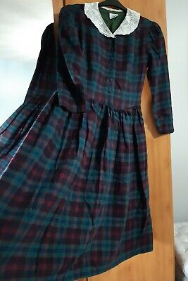 Laura Ashley Vintage Tartan Wool Blend Prairie Dress Size 16