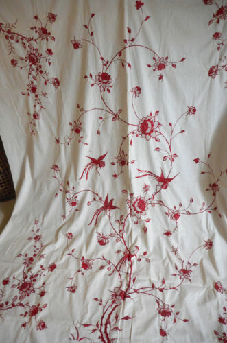 Antique Chinoiserie Redwork Silk Embroidered Floral Bird Cotton Fabric Lg. Cover