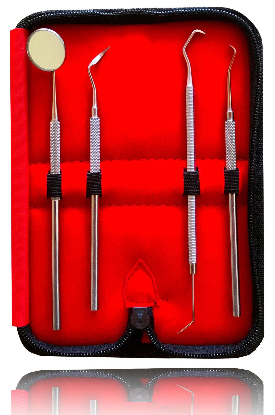 4er Dental Set Zahnreinigung Zahnsteinentferner Zahnsonde Zahnpflege Mundspiegel