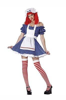 Racy Rag Doll Costume Adult Raggedy Ann Halloween Fancy Dress USED SMALL w/ WIG