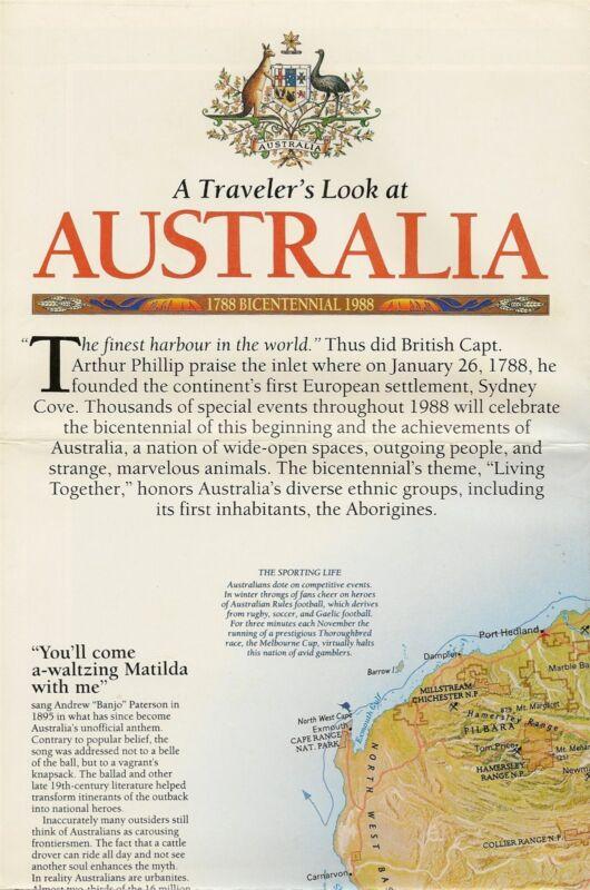1988 AUSTRALIA Bicentennial Map Melbourne Sydney Perth Hobart Great Barrier Reef