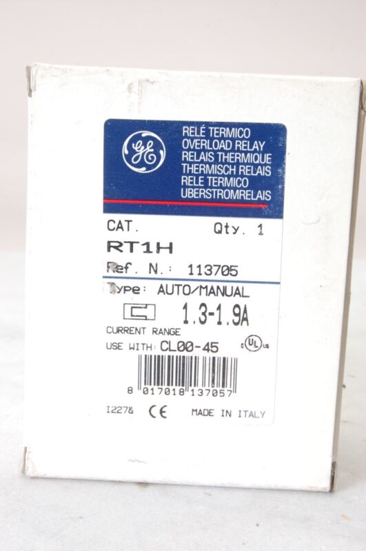 GENERAL ELECTRIC RT1H IEC Thermal Overload Relay, 1.30‑1.90A