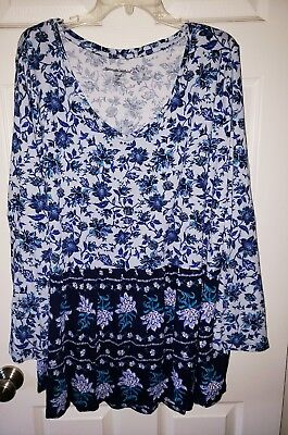 WOMENS PLUS SIZE 4X TOP NEW WITH TAGS FLORAL TUNIC - Womens Size 4x