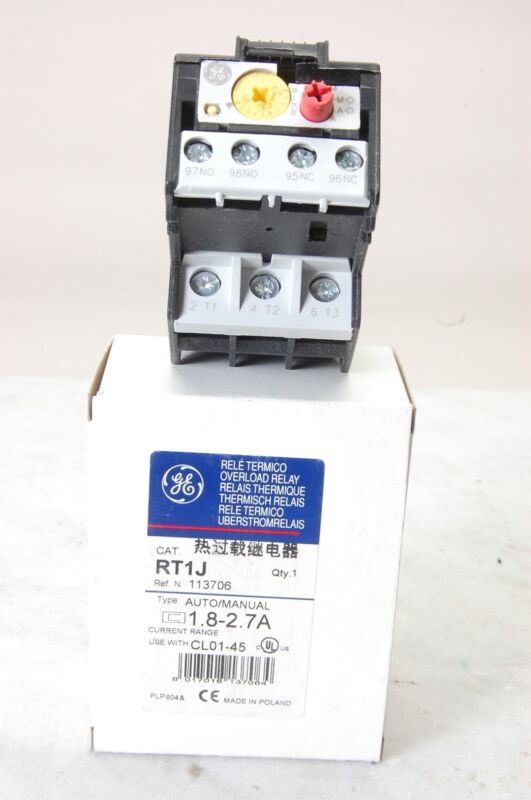 GENERAL ELECTRIC RT1J IEC Thermal Overload Relay, 1.8-2.7A
