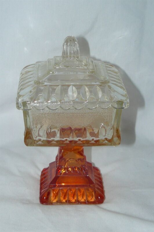 Vintage Indiana Glass Square Covered Candy Dish Footed Compote Amberina Base EUC
