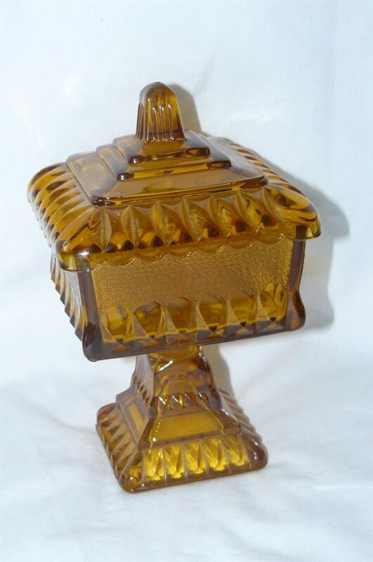 """Vintage Indiana Glass Square Covered Candy Dish Footed Compote Amber 6"""" EUC"""