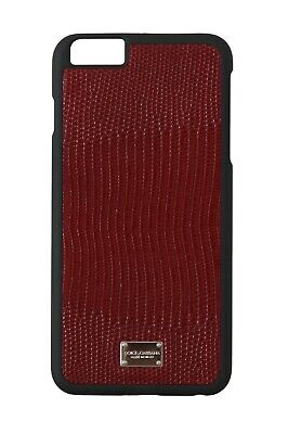 NEW $250 DOLCE & GABBANA Phone Case Bordeaux Leather Patterned Logo iPhone6 Plus