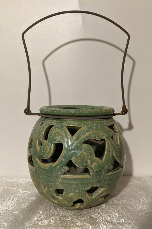 Ceramic Hanging Patio Lantern Celadon Sage Green Garden Ceramic Candle Holder