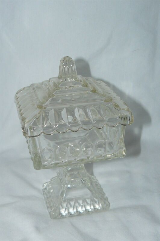 """Vintage Indiana Glass Square Covered Candy Dish Footed Compote Clear 6"""" EUC"""