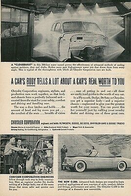 1952 Chrysler Auto Ad Water Tunnel Test on Car Body for Leaks & New C-200
