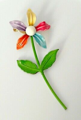 Metal Flower Brooch Vintage Enamel Multi Colored Petals Dainty Pin Leaves  - Multi Petal Flower Pin
