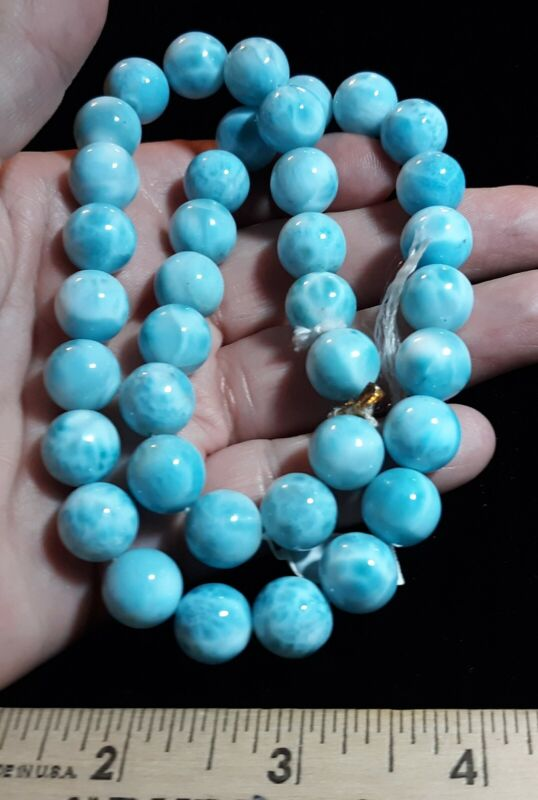 HUGE Natural AAAA 38 Round Sphere 12mm Carribean Larimar Beads $1000 Perfect