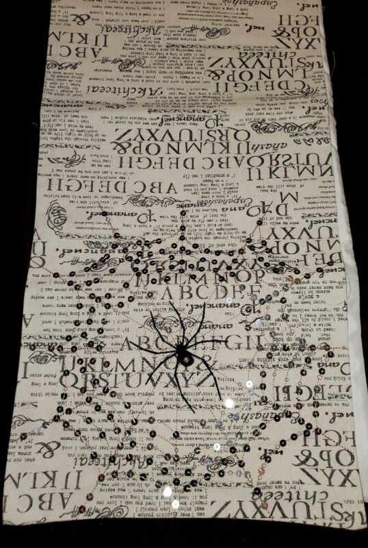 Halloween Glam  Newspaper Sparkle Spider web table runner 72x13in