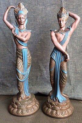BALI Nude DANCERS Ceramic MID CENTURY Figures 1950s Art Deco SCULPTURE Asian