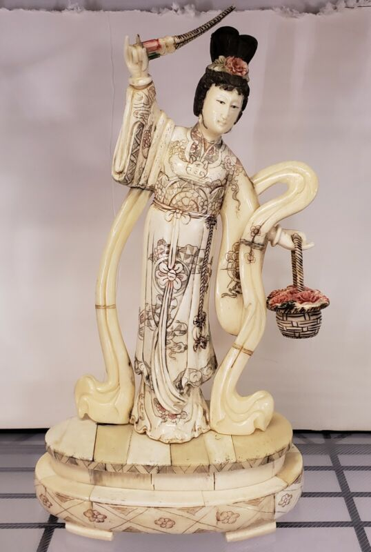 Early 20th Century Japanese Kuan Yin Performing Blessing Okimono Bone Carving