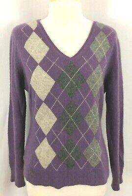 Womens V-neck Argyle Pullover (Apt 9 Womens Pullover V Neck Sweater Purple Grays Argyle Long Sleeves Cashmere L)