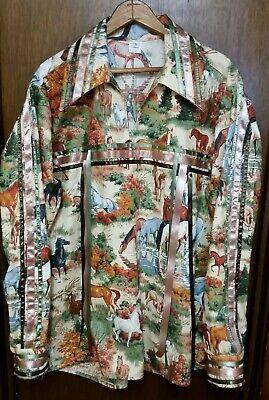 Mens ribbon shirt size L horse print powwow regalia FREE SHIPPING