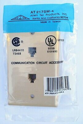 Allen ATP Flush Mount Two Port Telephone Wall Phone Jack AT217SM-4 Circuit NEW