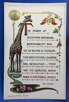 1910 GIRAFFE President Teddy Theo ROOSEVELT Quote Postcard Antique Original