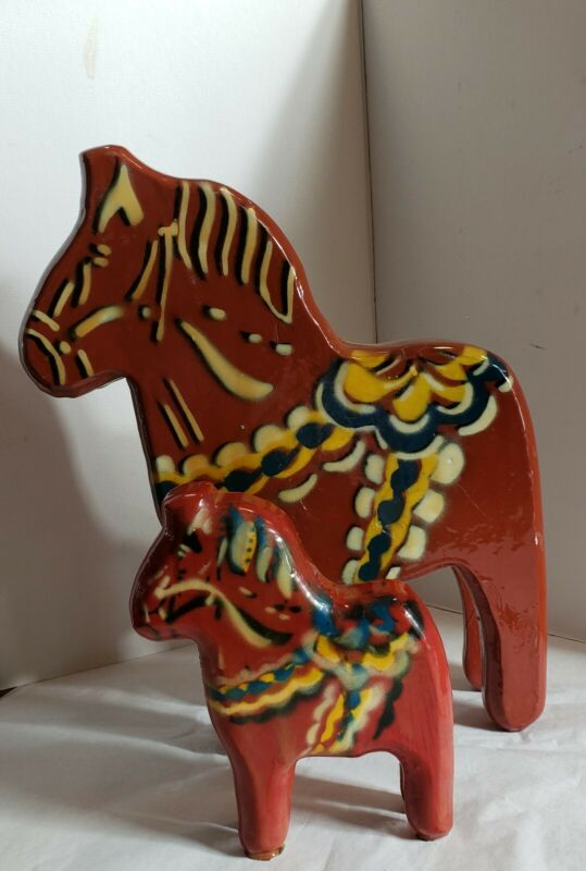 "2 Vintage Swedish Folk Art Dala Horses, large 12"" small 6"" by Paul L. Gustafson"