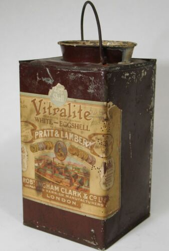 EARLY SQUARE  PRATT LAMBERT PAINT CAN VITRALITE ANTIQUE PAINTS GENERAL STORE