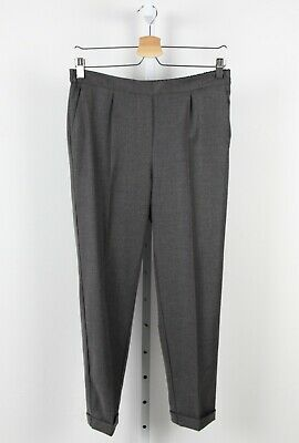 T JACKET Claudio Tonello Italy Pleated Crop Pants Cuffed Rear Elastic Gray S