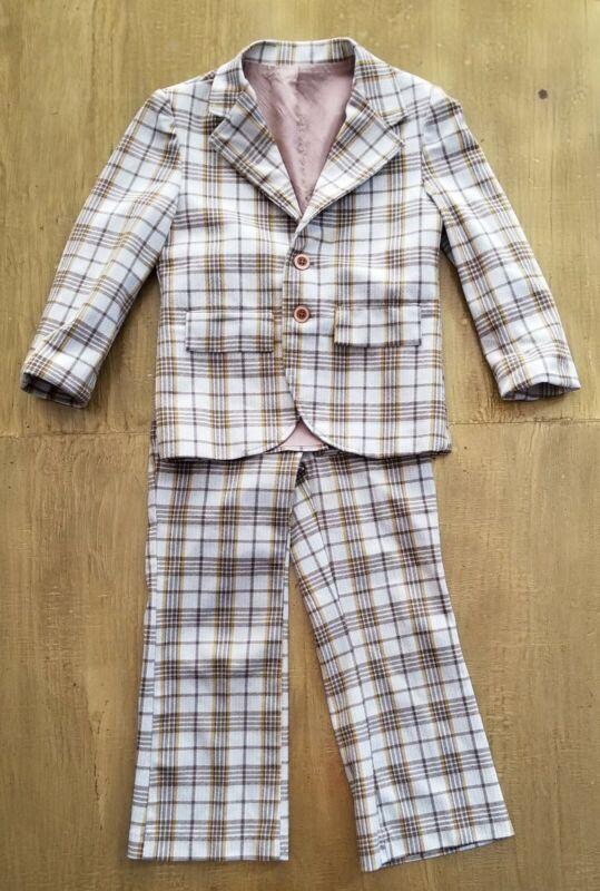 Vintage 1970s Suit 22-Piece Brown White Plaid Boys Size 6