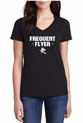 V-neck Frequent Flyer T-Shirt Witch Costume Shirt Halloween Tshirt Witch Please - Halloween Costumes Please