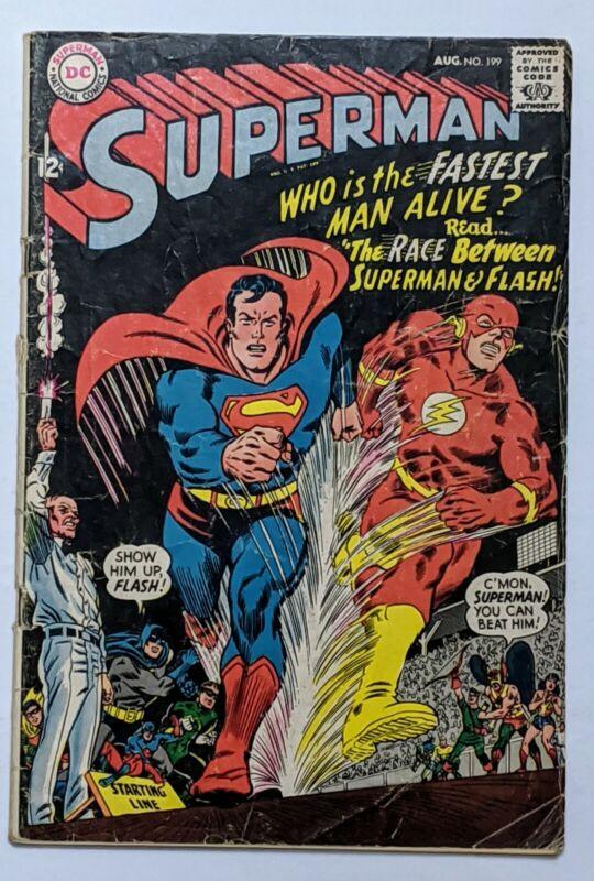Superman #199 (Aug 1967, DC) Good 2.0 1st Superman/Flash Race