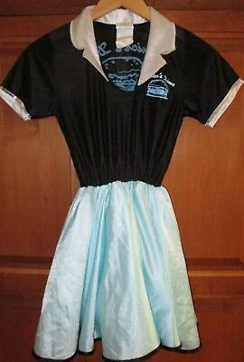 Rubies 50's Diner Dress Skirt Costume Aqua Black Girls Medium 10-12 Car Hop - Girls Car Hop Costume