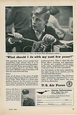 1961 US Air Force Recruiting Ad Recruit Enlistment USAF Recruitment Training