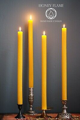 4 x EXTRA LONG 100% PURE BEESWAX candles ~ 42cm x 2cm...