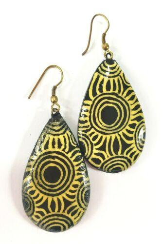IWANTJA  Australian Aboriginal Art Dangle Earrings Abstract Design