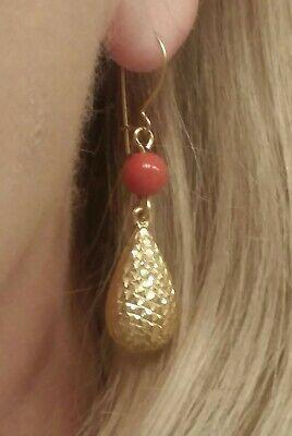 New 14K Gold Orange Carnelian Dangle Earrings 1 3/4