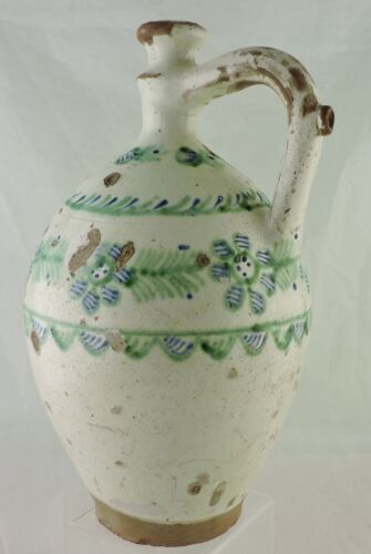 ANTIQUE 19TH CENTURY HUNGARIAN POTTERY JUG/PITCHER HAND PAINTED GLAZED WORN