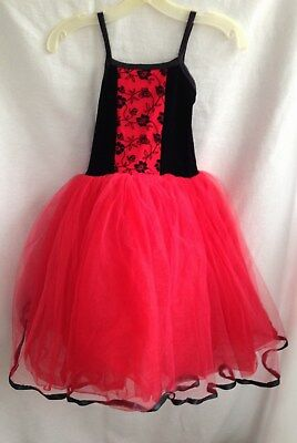 Star Styled Red & Black Leotard Dance Dress - Size Child Medium  Star Dance Apparel