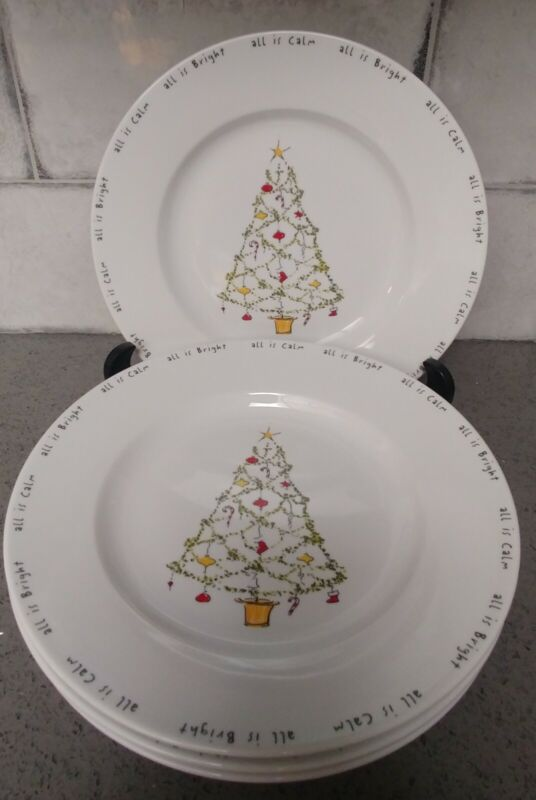 """4 pc Pottery Barn Christmas ALL IS BRIGHT ALL IS CALM Dinner plates 10 3/4"""" NICE"""