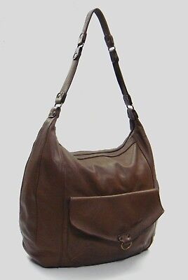 Abaco Paris Brown Lambskin Leather Large Hobo Shoulder Bag for sale  Shipping to Canada