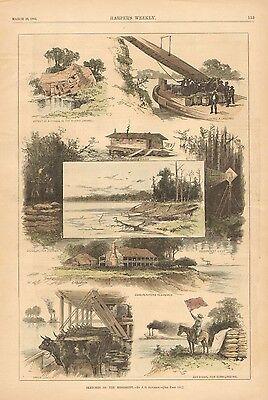 Mississippi Riverboat, Hauling Corn & Cattle, Vintage 1883 Antique Art Print