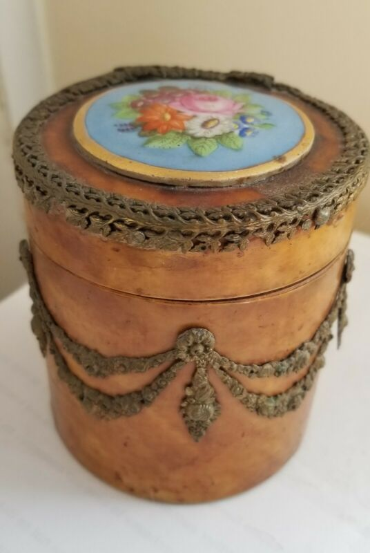 Antique 19thc French Burl Wood Box with Painted Porcelain Mounting