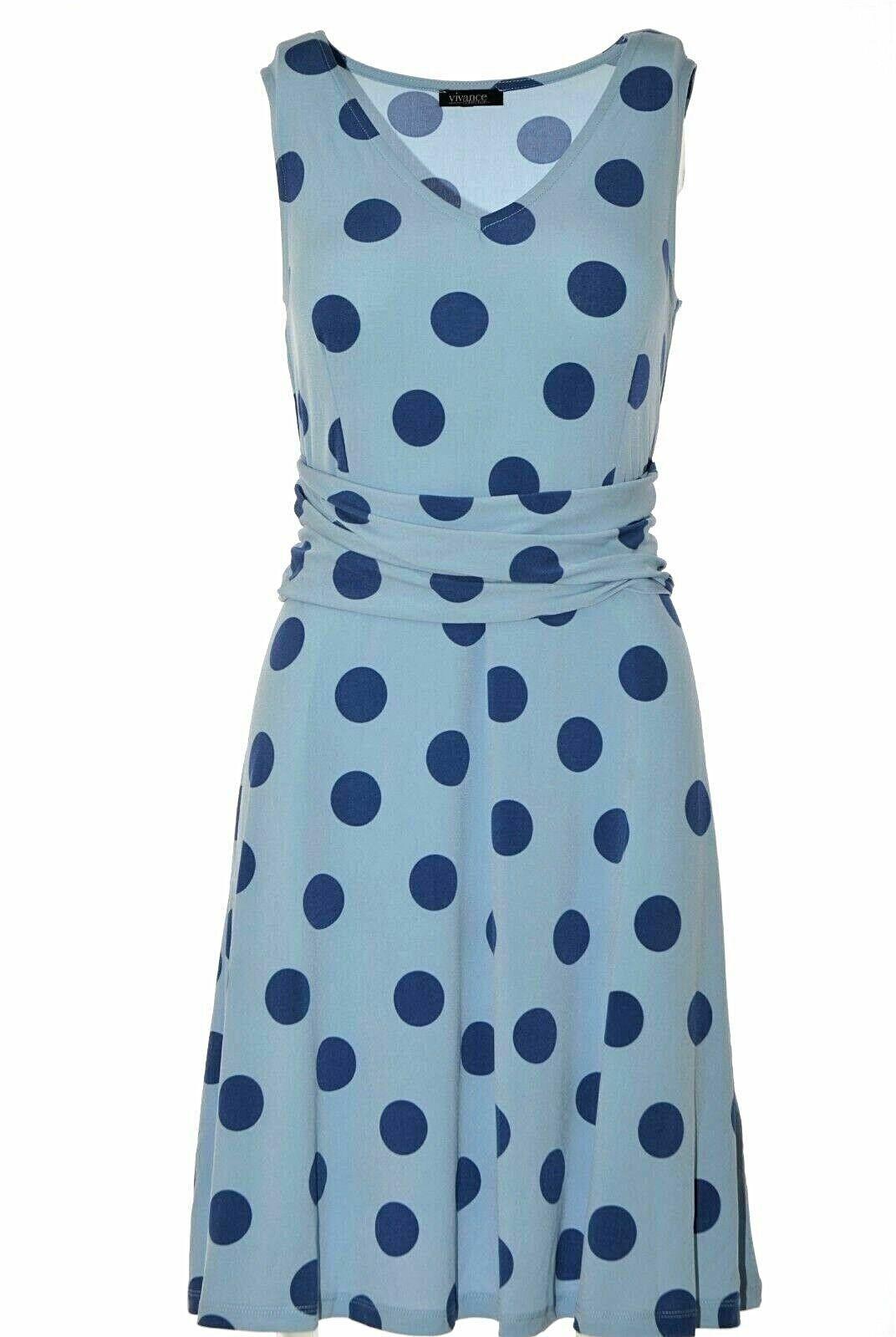 Vivance Damen Kleid A-Linie Sommerkleid DOTS Jerseykleid Hellblau Blau NEU