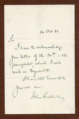 JOHN LUBBOCK Scientist who Coined 'PALEOLITHIC ' & 'NEOLITHIC' 1882 Handwritten