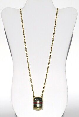 GUCCI Vintage Gold Tone Metal Red Green Stripe Pill Box Pendant Chain Necklace