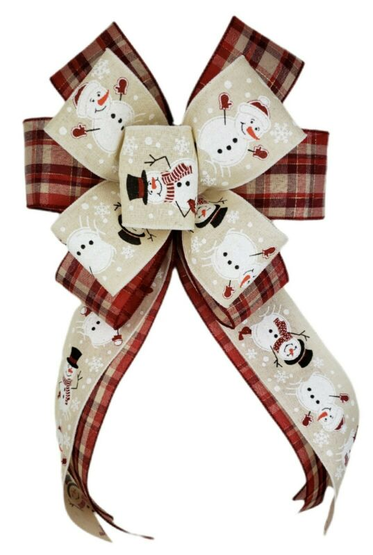Christmas Winter Cream Red Plaid Snowman Wreath Bow Home Holiday Decor