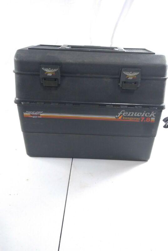 Vintage Fenwick Fishing Tackle Box Kangaroo 7.8 Gray with lures