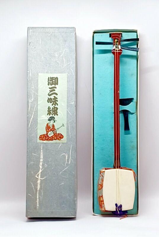 Vintage Souvenir Small Japanese guitar Shamisen In Box late 1950