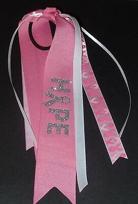 Breast Cancer Awareness Bows (Breast Cancer Awareness Streamer Bow~Glitter~Hope~Pink~White~Handmade by)