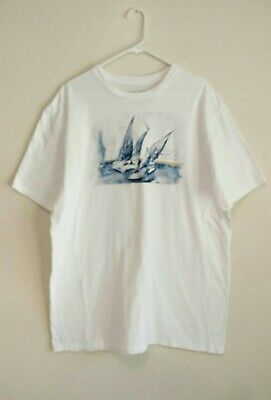 Nautica Men's Sailboat Yacht NA 83 Graphic T-Shirt White Size 3XL